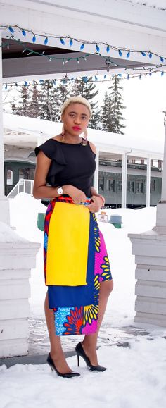 Louisa slays again in this asymmetrical African print layered skirt! Ankara fashion is becoming a frequent appearance in mainstream fashion. We love the bold colors ♥ Stunning and stylish outfit ideas from Zefinka.com for fashionable women.