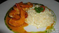 Camarão com risoto no restaurante Lafayette - Salvador
