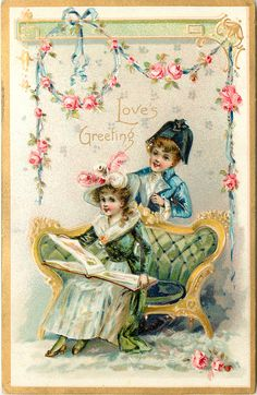 LOVE'S GREETING  girl sits reading on couch, boy behind