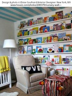Perfect way to display art books or a kid's books! Nursery Wall design & photo © ELOISE SOUTHARD (Interior Designer. New York, NY) ... Give credit where due. Don't harm another's ability to make a living. Caption crediting the artist required by copyright law.   HOW TO FIND the ORIGINAL WEB SITE of an image: pinterest.com/... ATTRIBUTION & COPYRIGHT LAW REQUIREMENTS: pinterest.com/...
