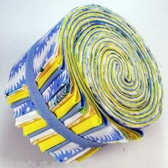 """2.5"""" Blue & Yellow Jelly Roll 20 Fabric Strips Cotton Quilting Quilt Kit Stash"""