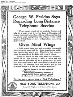 In the age before smart phones. Telephone service ad from The New York Times, June 18, 1910, ProQuest Historical Newspapers.