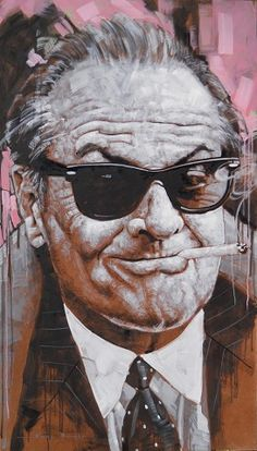 """""""Jack Nicholson"""" - Jimmy Law (South African, b. 1970), acrylic on canvas {male head #caricature man face portrait grunge painting drips} <3"""