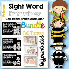 Sight Word Printables: Roll, Read, Trace and; Color BUNDLE Primer Dolch Words Three Fall Themes Differentiated, print and go sight word practice for fall. Just add dice!