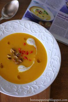 Blog Bo(ro)n Appétit: Jabłkowo-dyniowa zupa krem z oliwą truflową i mleczną pianką