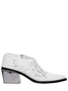 40Mm Rodeo Woven Leather Ankle Boots, White. Leather Ankle BootsShoe ...