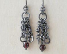 Garnet Sterling Silver Earrings. Dangle Oxidized Rustic by aroluna