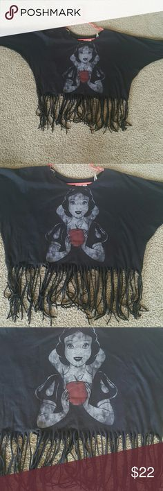 """Disney Black 3/4 sleeve SNOW WHITE fringe tee DISNEY black solid tee, Dolman set in sleeve SIZE S/P please refer to measurements 48 3/8"""" end to end when laying flat sleeve edge to sleeve edge see last photo 24 1/2"""" see 6th photo I7"""" shoulder to top of fringe 24"""" shoulder to bottom edge of fringe Disney Tops"""
