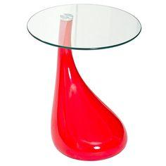 Teardrop Glass Top Fiberglass Side Table in Red