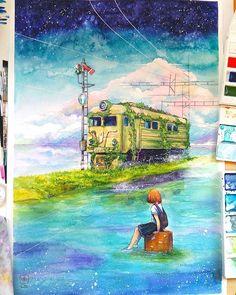 """""""A train GOOD LIFE"""" раз-р А2, акварель  Я выросла на мультфильмах Хаяо Миядзаки, мечтала научиться так изображать природу как они!  Всегда завидовала их терпению! Чтоб нарисовать только один кадр! Сколько любви, тепла и сил надо вложить  #jyldyzbekova#art#anime#aquarelle#art_we_inspire#artwork#topcreator#landscape#sea#dreams#bishkek#painting#waterblog#watercolor#illustration#арт#аниме#акварель#иллюстрация#одинденьсхудожником"""
