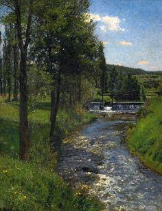 Friedrich Kallmorgen - Wiese am bach mit stauwehr sommer