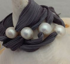 PEARLS and SILK RIBBON Bracelet/Necklace/Anklet от maggievee