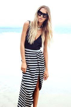 backless striped dress