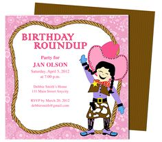 Kids Party : Cowgirl Kids Birthday Party Invitation Template