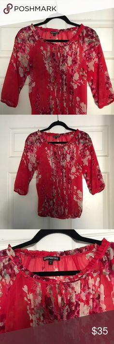 "Express Floral Cinched Blouse Excellent condition.  100% polyester.  Measurements:  Bust: 18.5"" across Waist: 15.5"" across Express Tops Blouses"