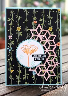 Oh So Eclectic bundle hello card with Starburst Punch and Whole Lot of Lovely DSP. By Claire Daly Stampin' Up! Demonstrator Melbourne Australia.