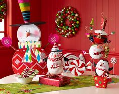 Peppermint Playland decor and  Christmas ornaments