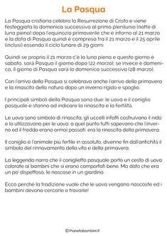 Testi sulla Pasqua per la Scuola Primaria | PianetaBambini.it Learning Italian, School, Easter, Decorations, Sanitary Napkin, Learn Italian Language, Easter Activities, Dekoration, Schools