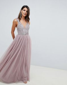 1876e247453df DESIGN maxi dress in tulle with embellished bodice