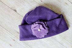 Pretty Purple Flower Fleece Hat by MilliesFrillies on Etsy, $12.00