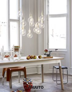 Muuto – inspired by the Finnish word 'Muutos', meaning change or fresh perspective. Muuto, already internationally successful Nordic design company, strives to add fresh perspectives to… Muuto Lighting, Lighting Design, Table Lighting, Funky Lighting, Dramatic Lighting, Interior Lighting, Kitchen Lighting, Modern Lighting, Luminaire Design