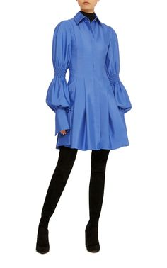 Would add length but with legging/dark tights, really cool short dress. Adeam Pleated Shirt Dress With Smocking Detail