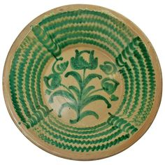 A Large and Impressive 19th Century Spanish Stoneware Lebrillo | From a unique collection of antique and modern bowls at http://www.1stdibs.com/furniture/dining-entertaining/bowls/