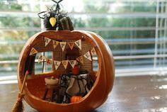 Halloween Pumpkin Diorama(for Lennon project) Halloween Diorama, Halloween Books, Holidays Halloween, Halloween Pumpkins, Fall Halloween, Halloween Crafts, Halloween Decorations, Halloween Ideas, Halloween Scene