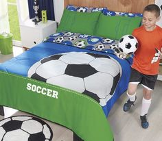 Boys and Teens Twin and Full Soccer Comforter Set #VNG