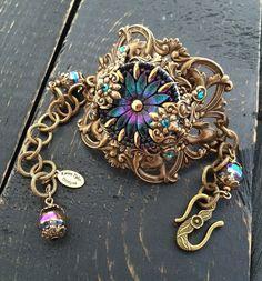 Vintage Victorian Style Czech Glass Button by KarenTylerDesigns