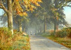 """""""Walking the dogs"""" [Sold] By Peter Barker, from Banbury, Oxfordrshire, England (current location, South Luffenham, England) - pastel painting; 11 x 15 in - http://www.peterbarkerpaintings.co.uk/ https://www.facebook.com/PeterBarkerARSMA"""