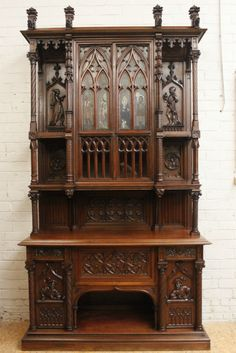 Exceptional walnut gothic cabinet with paint glass doors - Cabinets - Houtroos