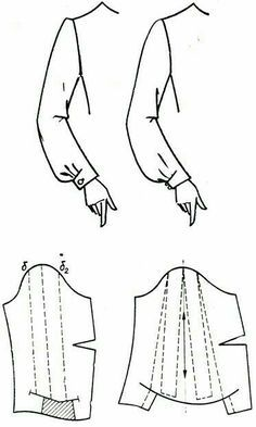 nice sleeve detail on the left; it would be pretty on a short sleeve or as well Techniques Couture, Sewing Techniques, Dress Sewing Patterns, Clothing Patterns, Sewing Basics, Sewing Hacks, Sewing Clothes, Diy Clothes, Sewing Sleeves