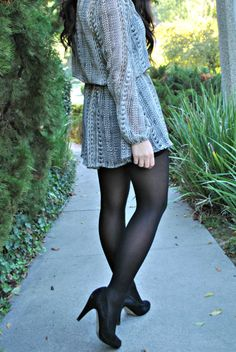 Black and White Dress, Black Tights and Black Heels