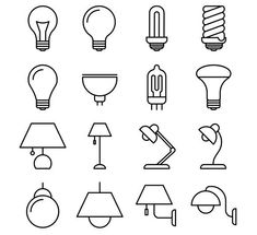 Lamp line vector icons by MicroOne on Doodle Bullet Journal, Bullet Journal Inspiration, Lamp Logo, Notebook Drawing, Light Icon, Pretty Notes, Sketch Notes, Line Illustration, Illustrations