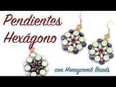 Pendientes Hexágono con Honeycomb Beads