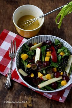 Winter Fruit Salad with Sparkling Wine & Apricot Juice Dressing.
