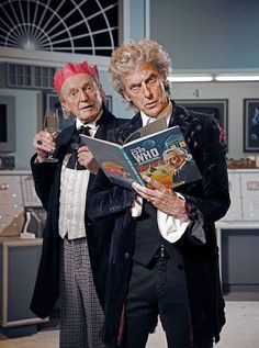 Great photo of David Bradley as the First Doctor Who and Peter Capaldi as the Twelfth having some fun.