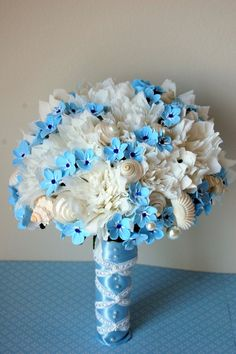 forget me not ,blue,wedding,Custom, wedding paper flower bouquet by stjudescreations on Etsy, $140.00