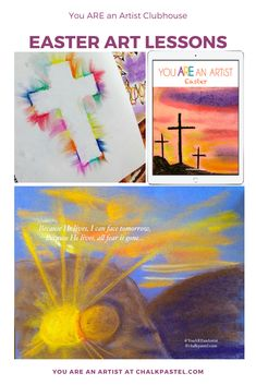 As a gift to our artists, Nana shares Easter Video Art Lessons. Easter Cross, Easter Art, Easter Videos, Easter Paintings, Spring Art Projects, Cross Art, Art Curriculum, Kindergarten Art, Chalk Pastels
