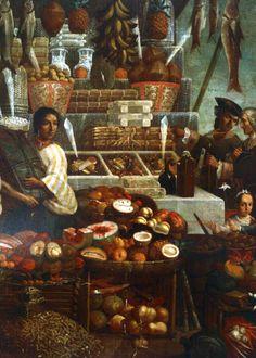 """Puesto de mercado"", anónimo, óleo sobre tela, siglo XVIII. Museo Nacional de Historia, México."