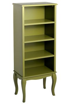 Add some petite French farmhouse charm with Pier 1's Toscana Tall Bookcase in cool moss green with cabriole legs and a scalloped apron.