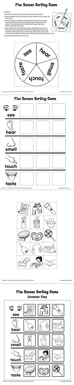 Five Senses Sorting Game Printable from Lakeshore Learning