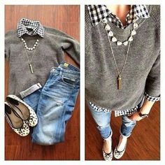 Gray Sweater - - White an Black Checkered Blouse- - Cuffed Skinny Jeans