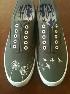 Hand Painted Shoes  Dandelions and Birds by YourSoleExpression, $45.00