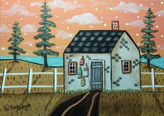 Buoy House  5x7 inch Canvas Panel ORIG Landscape PAINTING PRIM FOLK ART Karla G..new painting for sale.. #FolkArtAbstractPrimitiveLandscape