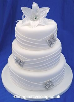 Pleated Material Effect Diamonte White Wedding Cake