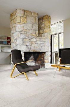 Flisen er kalibrert og du har mulighet å kombinere ulike formater sammen i modul. Flisen er gjennomfarget og kan også brukes utendørs. Decor, Chair, Furniture, Home Decor, Fireplace