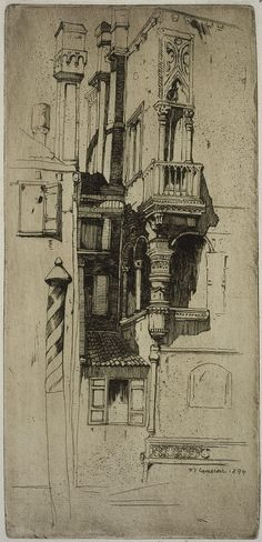 Architectural Sketches - Tintoretto's House, Venice | David Cameron | Etching on paper | 1894