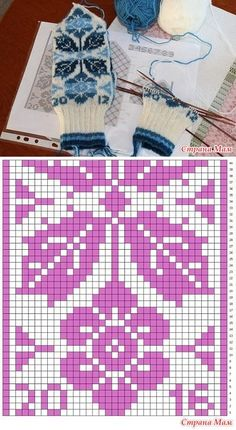 * Fair isle mittens with flowers and leaves. - Jacquard - the Country of Mothers Tapestry Crochet Patterns, Fair Isle Knitting Patterns, Knitting Charts, Knitting Socks, Knitting Stitches, Crochet Gloves, Knitted Hats, Norwegian Knitting, Mittens Pattern